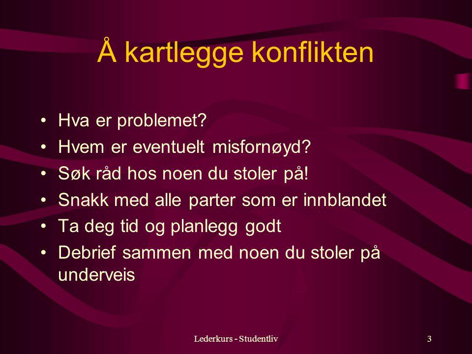 Lederkurs - Studentliv3 Å kartlegge konflikten Hva er problemet.