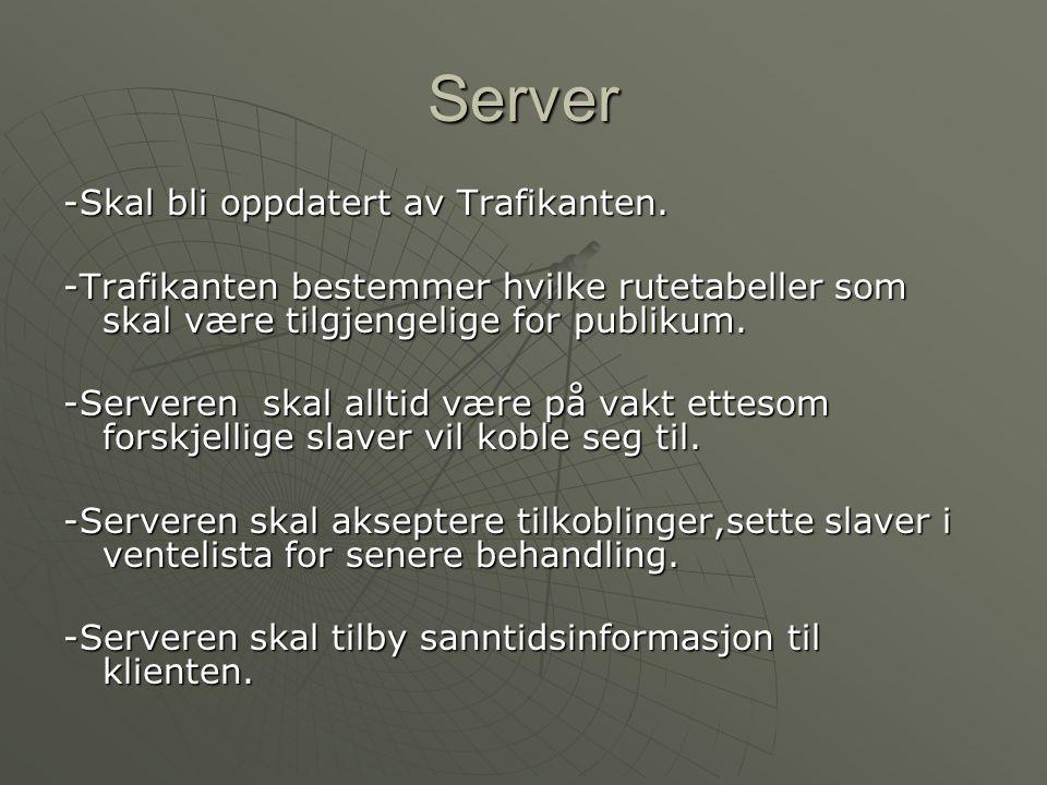Server -Skal bli oppdatert av Trafikanten. -Trafikanten bestemmer hvilke rutetabeller som skal være tilgjengelige for publikum. -Serveren skal alltid