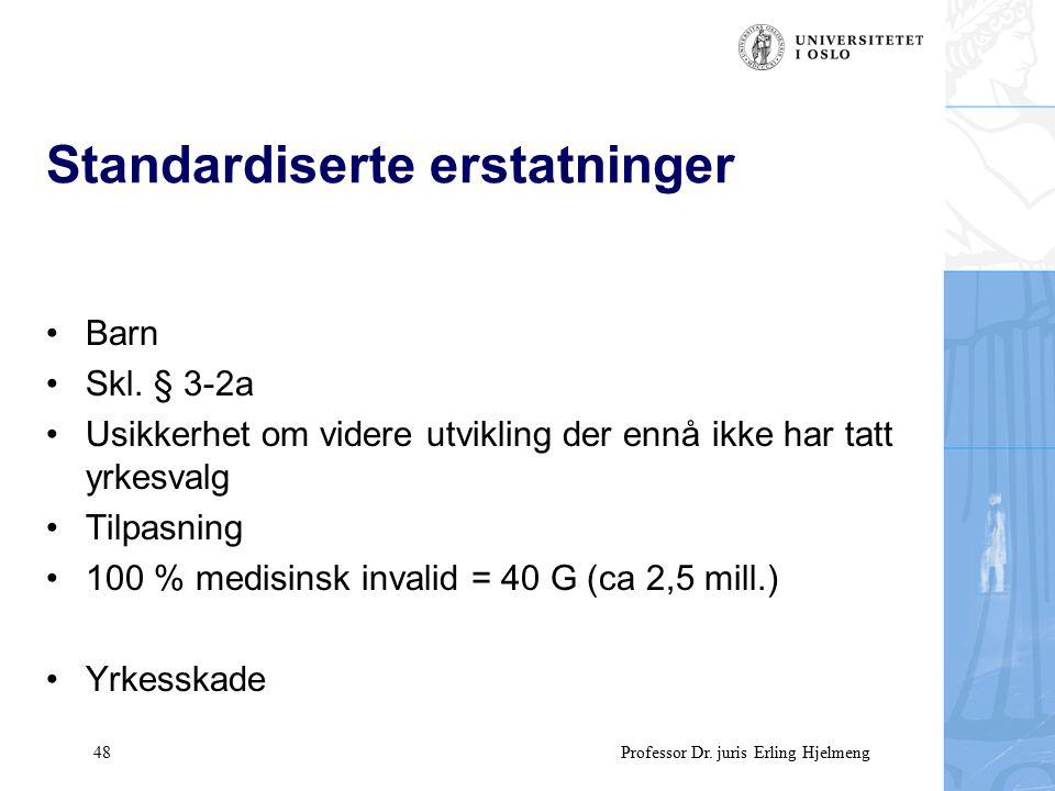 48 Professor Dr. juris Erling Hjelmeng Standardiserte erstatninger Barn Skl.