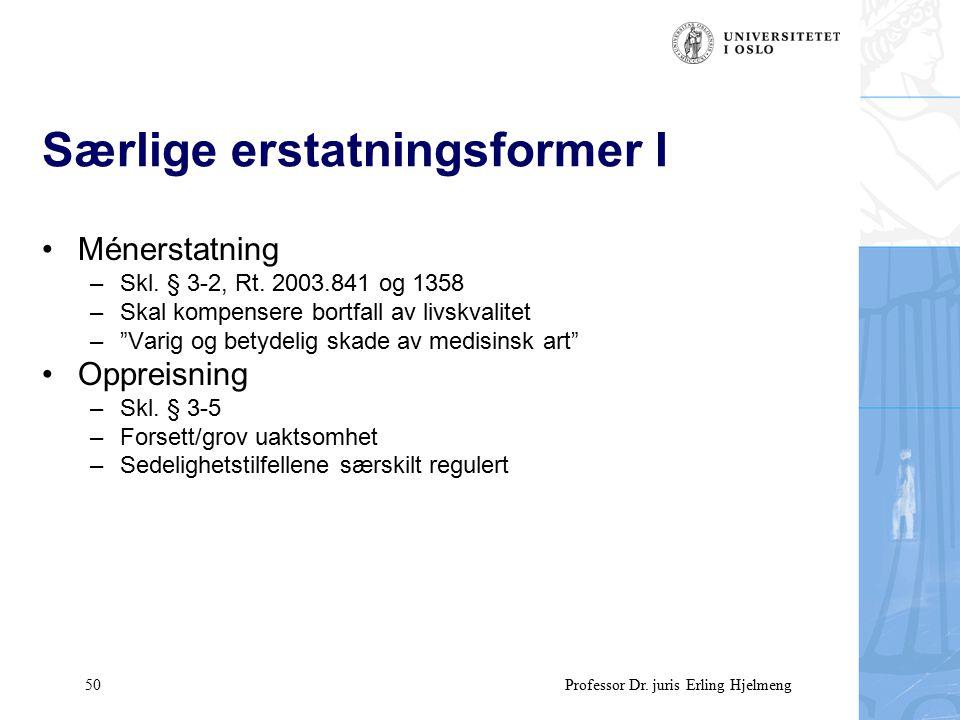 50 Professor Dr. juris Erling Hjelmeng Særlige erstatningsformer I Ménerstatning –Skl.