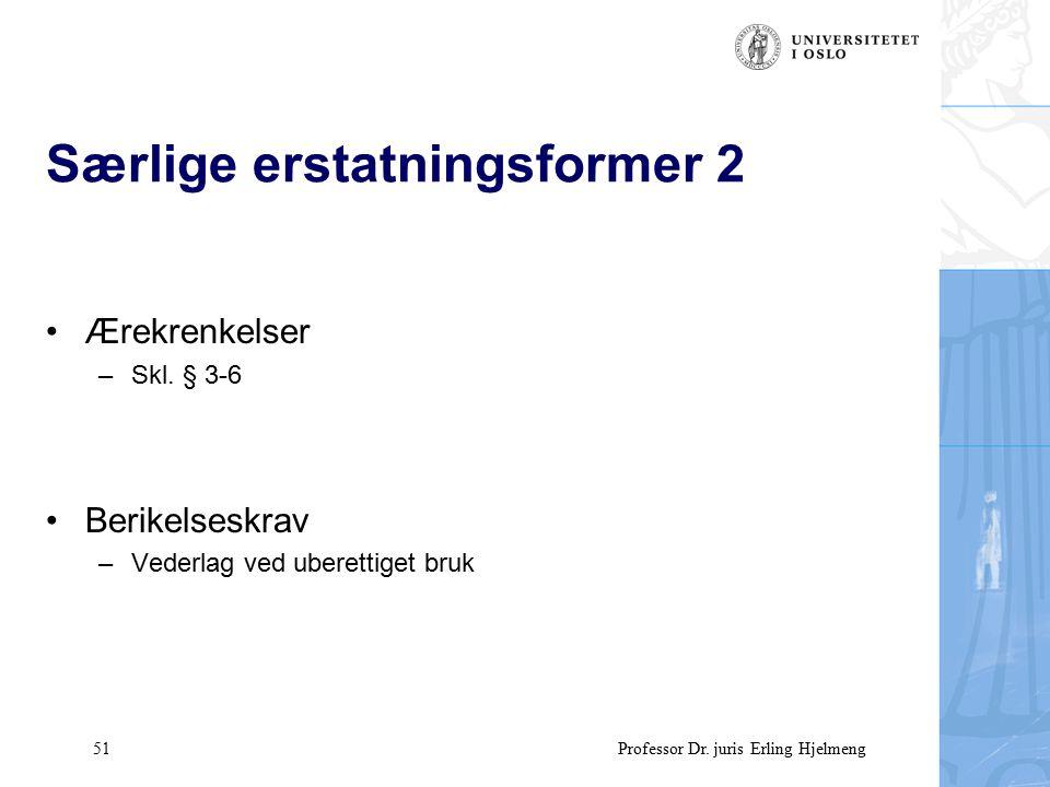 51 Professor Dr. juris Erling Hjelmeng Særlige erstatningsformer 2 Ærekrenkelser –Skl.
