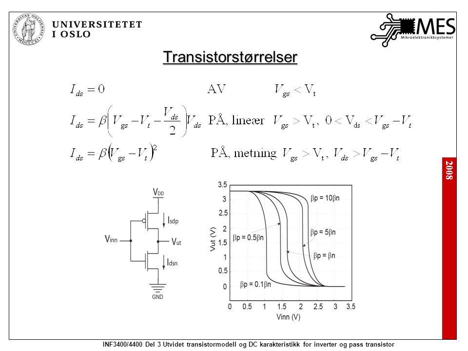 2008 INF3400/4400 Del 3 Utvidet transistormodell og DC karakteristikk for inverter og pass transistor Transistorstørrelser