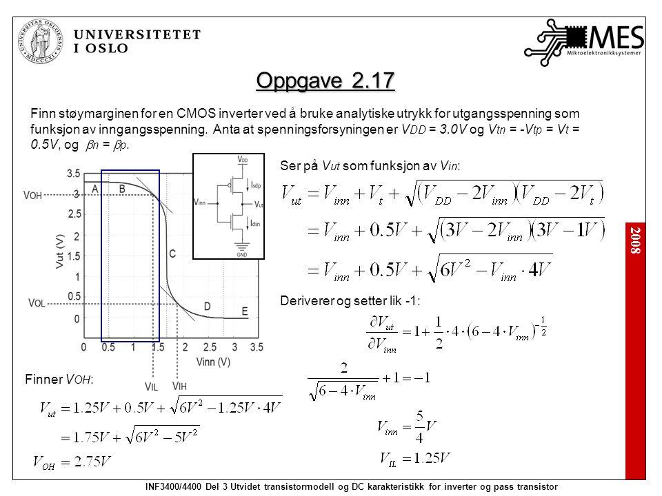 2008 INF3400/4400 Del 3 Utvidet transistormodell og DC karakteristikk for inverter og pass transistor Oppgave 2.17 Finn støymarginen for en CMOS inverter ved å bruke analytiske utrykk for utgangsspenning som funksjon av inngangsspenning.