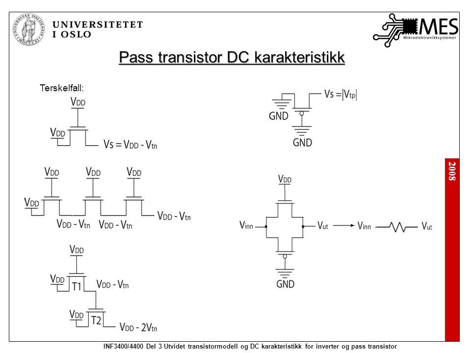 2008 INF3400/4400 Del 3 Utvidet transistormodell og DC karakteristikk for inverter og pass transistor Pass transistor DC karakteristikk Terskelfall: