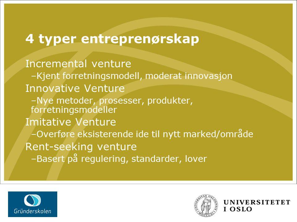 4 typer entreprenørskap Incremental venture –Kjent forretningsmodell, moderat innovasjon Innovative Venture –Nye metoder, prosesser, produkter, forretningsmodeller Imitative Venture –Overføre eksisterende ide til nytt marked/område Rent-seeking venture –Basert på regulering, standarder, lover