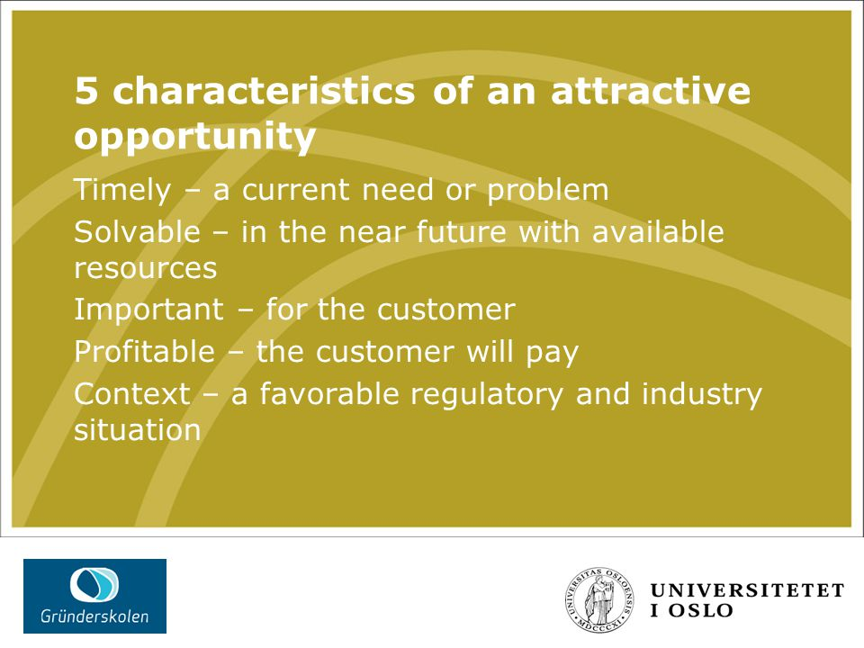 5 characteristics of an attractive opportunity Timely – a current need or problem Solvable – in the near future with available resources Important – for the customer Profitable – the customer will pay Context – a favorable regulatory and industry situation