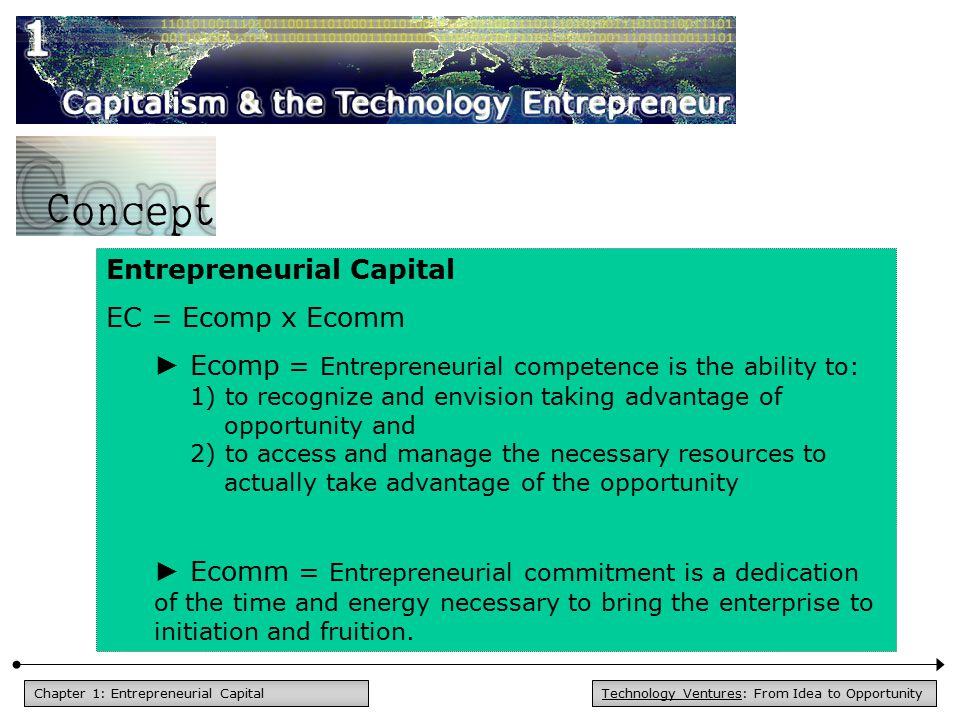 Technology Ventures: From Idea to OpportunityChapter 1: Entrepreneurial Capital Entrepreneurial Capital EC = Ecomp x Ecomm ► Ecomp = Entrepreneurial c