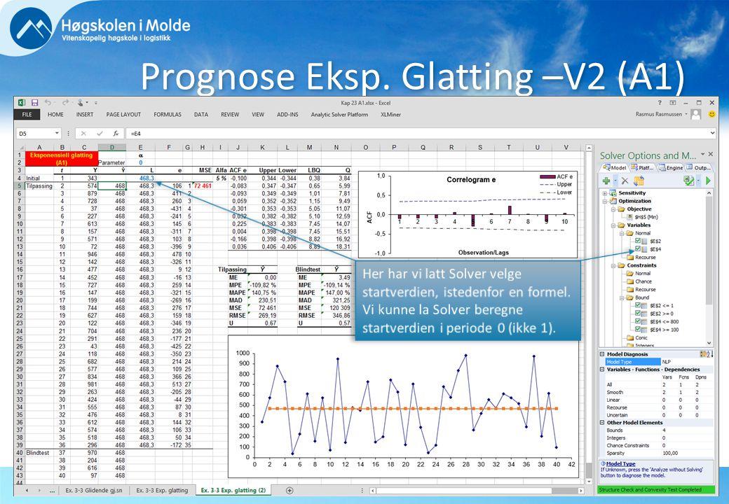 Rasmus RasmussenBØK710 OPERASJONSANALYTISKE EMNER13 Prognose Eksp. Glatting –V2 (A1)