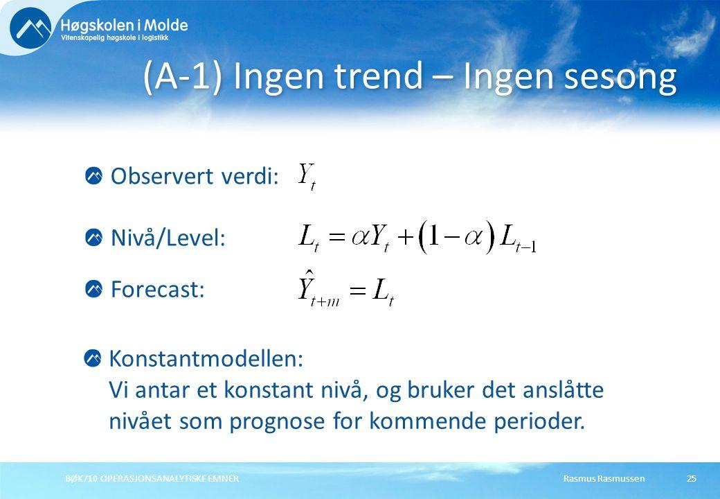 Rasmus RasmussenBØK710 OPERASJONSANALYTISKE EMNER25 (A-1) Ingen trend – Ingen sesong Forecast: Nivå/Level: Konstantmodellen: Vi antar et konstant nivå