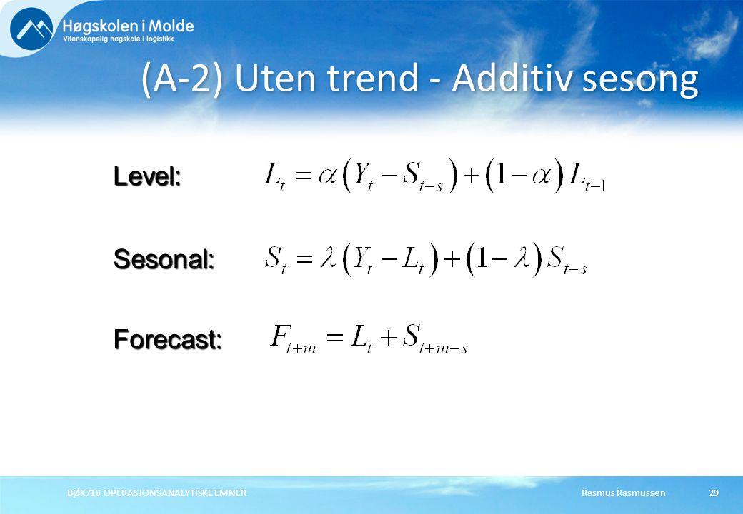Rasmus RasmussenBØK710 OPERASJONSANALYTISKE EMNER29 (A-2) Uten trend - Additiv sesong Forecast: Level: Sesonal: