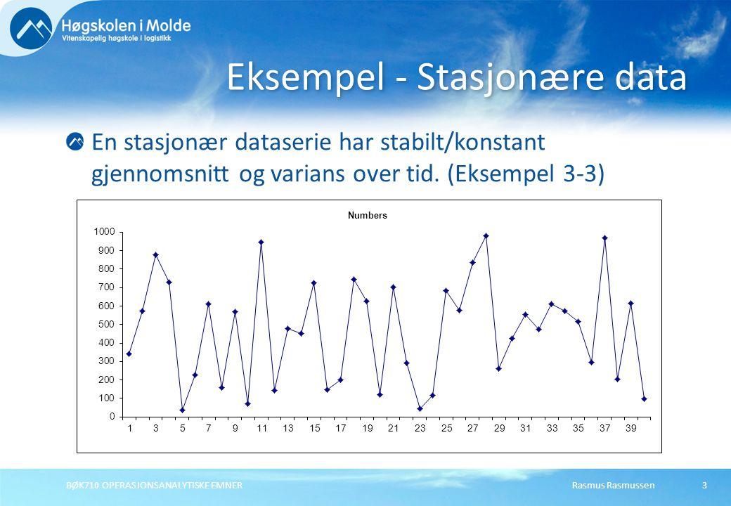 Rasmus RasmussenBØK710 OPERASJONSANALYTISKE EMNER3 En stasjonær dataserie har stabilt/konstant gjennomsnitt og varians over tid. (Eksempel 3-3) Eksemp