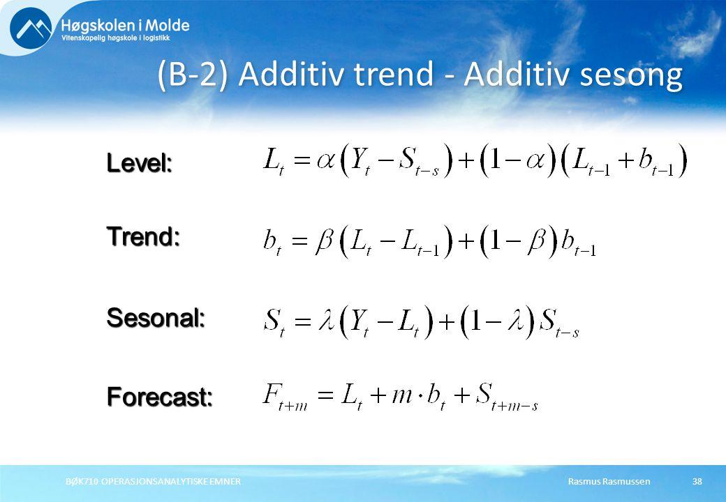 Rasmus RasmussenBØK710 OPERASJONSANALYTISKE EMNER38 (B-2) Additiv trend - Additiv sesong Forecast: Level: Trend: Sesonal: