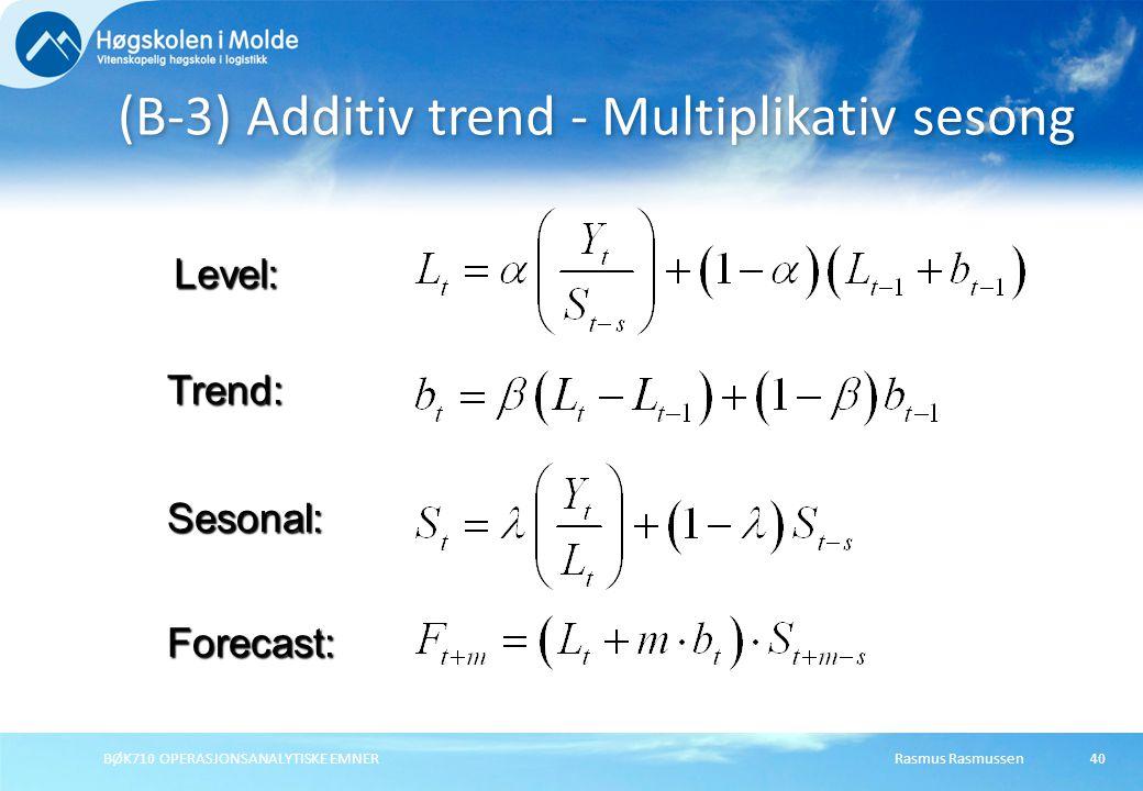Rasmus RasmussenBØK710 OPERASJONSANALYTISKE EMNER40 (B-3) Additiv trend - Multiplikativ sesong Forecast: Level: Trend: Sesonal: