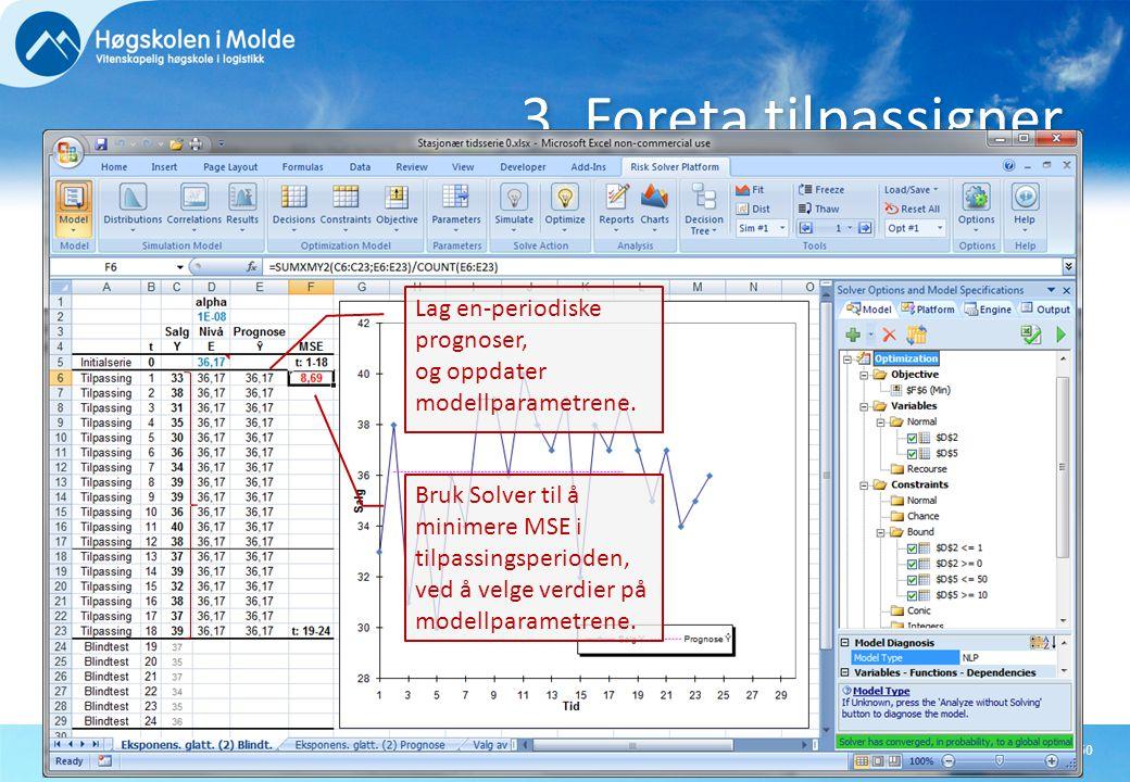 Rasmus RasmussenBØK710 OPERASJONSANALYTISKE EMNER50 3. Foreta tilpassigner Bruk Solver til å minimere MSE i tilpassingsperioden, ved å velge verdier p