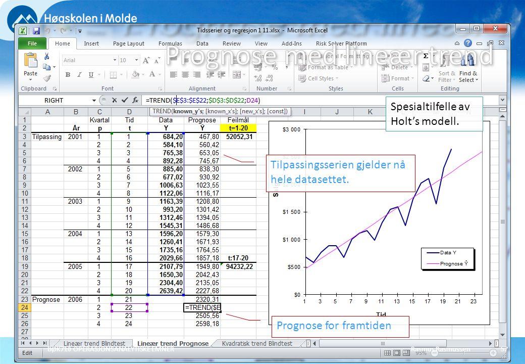 Rasmus RasmussenBØK710 OPERASJONSANALYTISKE EMNER57 Spesialtilfelle av Holt's modell. Tilpassingsserien gjelder nå hele datasettet. Prognose for framt