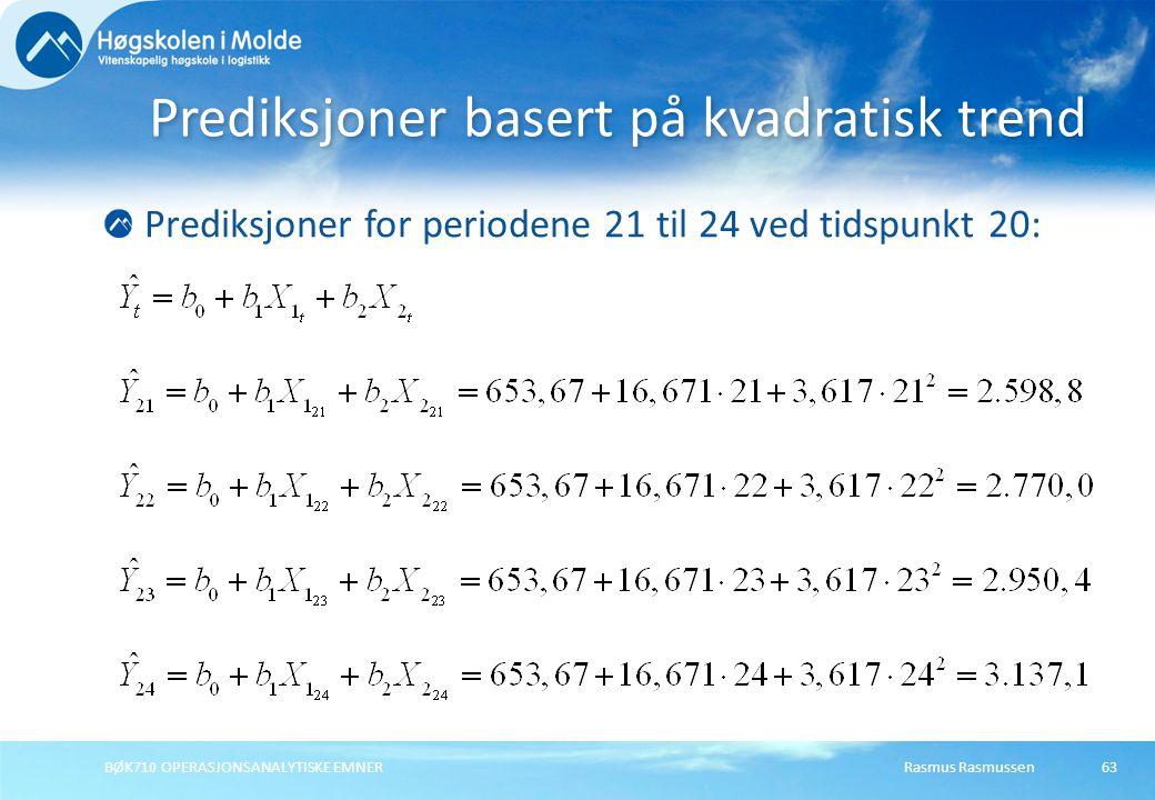 Rasmus RasmussenBØK710 OPERASJONSANALYTISKE EMNER63 Prediksjoner for periodene 21 til 24 ved tidspunkt 20: Prediksjoner basert på kvadratisk trend