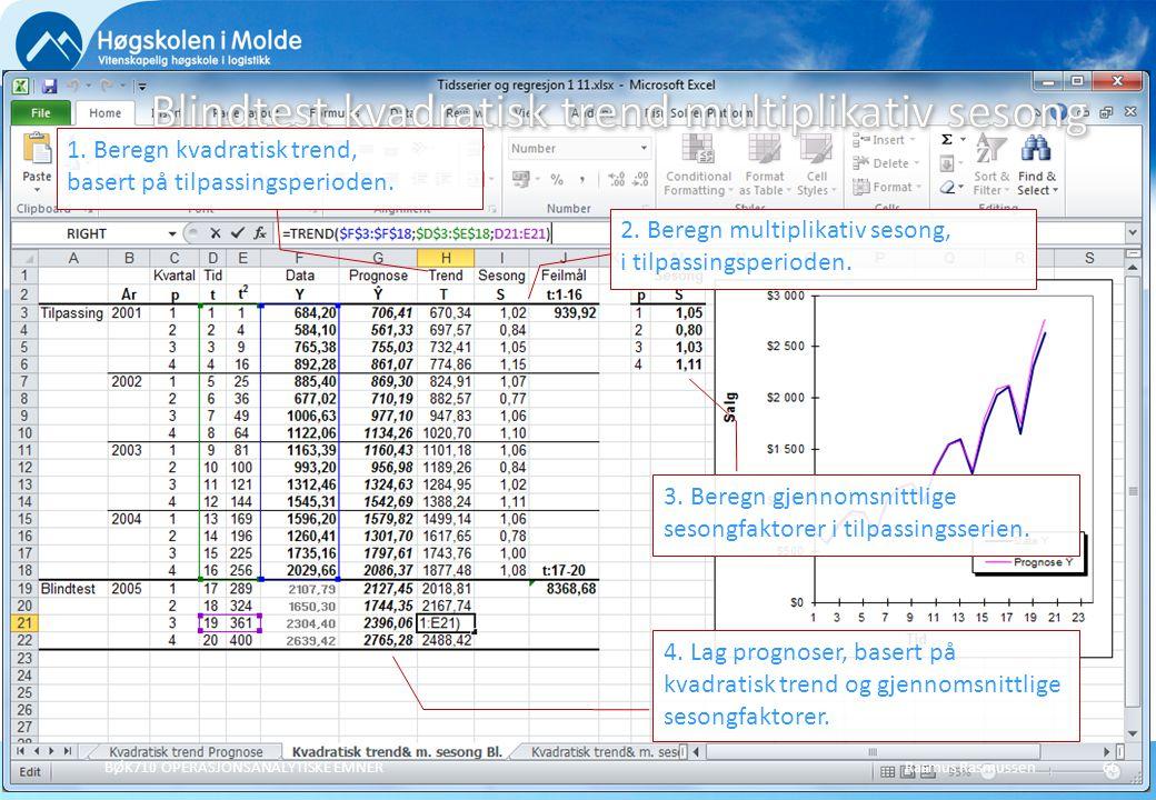 Rasmus RasmussenBØK710 OPERASJONSANALYTISKE EMNER66 1. Beregn kvadratisk trend, basert på tilpassingsperioden. 2. Beregn multiplikativ sesong, i tilpa