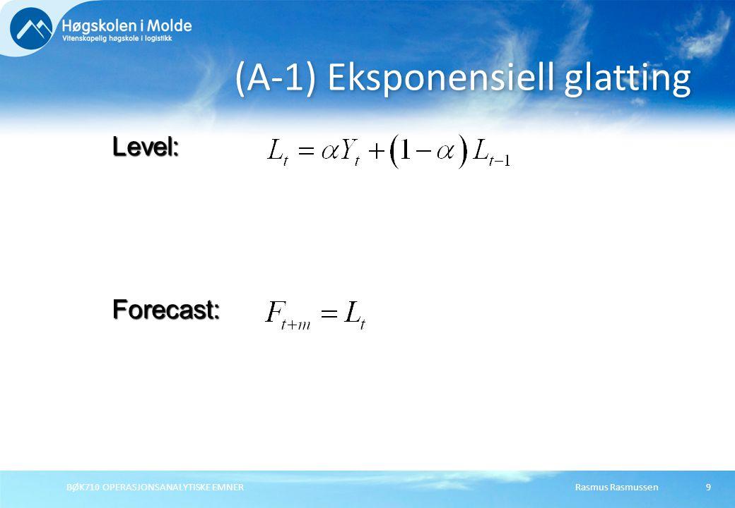 Rasmus RasmussenBØK710 OPERASJONSANALYTISKE EMNER9 (A-1) Eksponensiell glatting Forecast: Level: