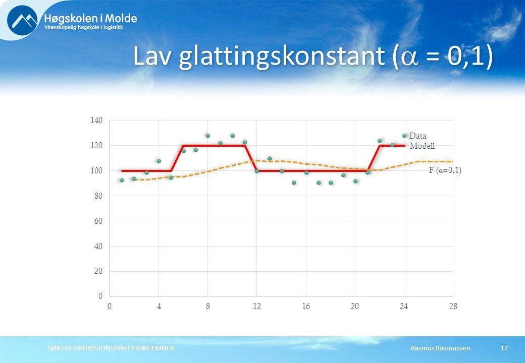 Rasmus RasmussenBØK710 OPERASJONSANALYTISKE EMNER 17 Lav glattingskonstant (  = 0,1)