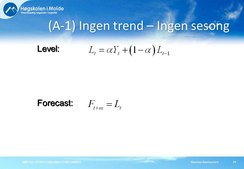 Rasmus RasmussenBØK710 OPERASJONSANALYTISKE EMNER29 (A-1) Ingen trend – Ingen sesong Forecast: Level: