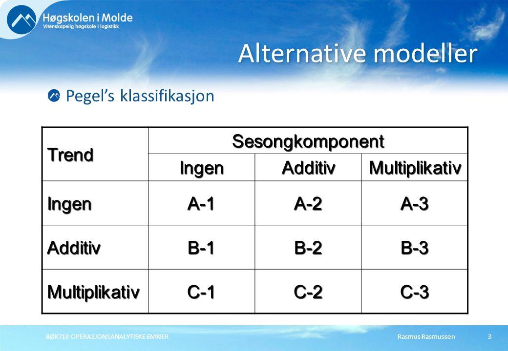 Rasmus RasmussenBØK710 OPERASJONSANALYTISKE EMNER54 Hvis det er grunn for å tro at de seneste endringene i datamønsteret er utslag av reelle endringer, bør glattingskonstantene være store.