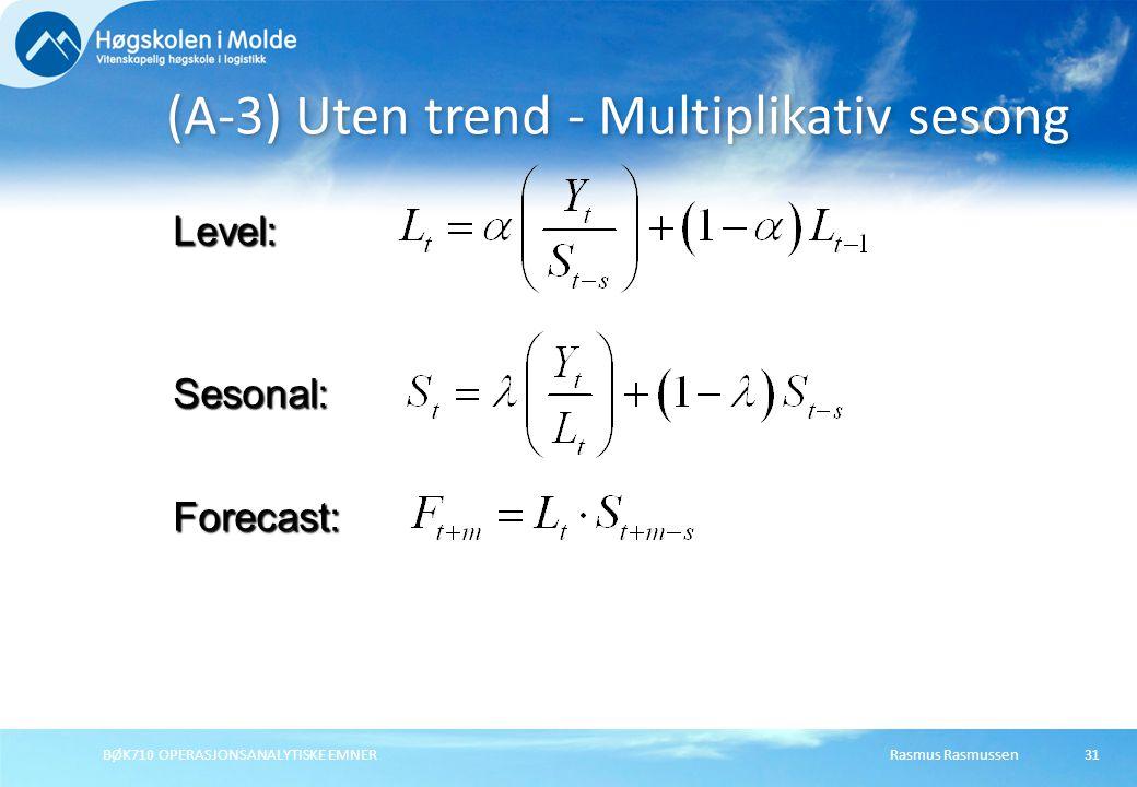 Rasmus RasmussenBØK710 OPERASJONSANALYTISKE EMNER31 (A-3) Uten trend - Multiplikativ sesong Forecast: Level: Sesonal: