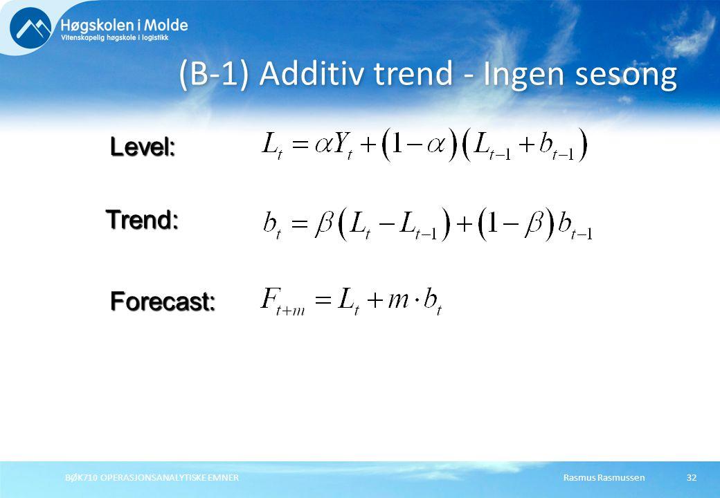 Rasmus RasmussenBØK710 OPERASJONSANALYTISKE EMNER32 (B-1) Additiv trend - Ingen sesong Forecast: Level: Trend:
