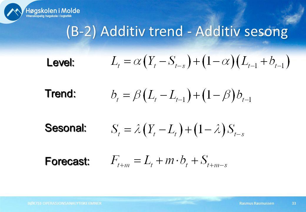 Rasmus RasmussenBØK710 OPERASJONSANALYTISKE EMNER33 (B-2) Additiv trend - Additiv sesong Forecast: Level: Trend: Sesonal: