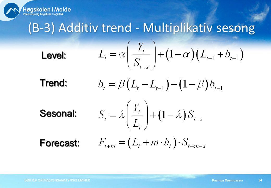 Rasmus RasmussenBØK710 OPERASJONSANALYTISKE EMNER34 (B-3) Additiv trend - Multiplikativ sesong Forecast: Level: Trend: Sesonal:
