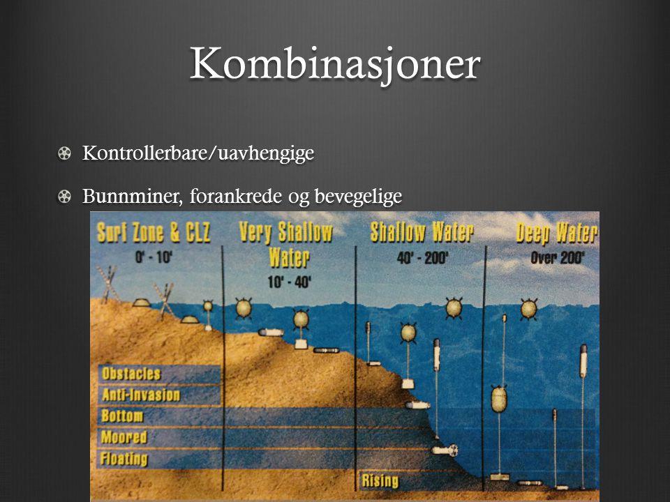 Kombinasjoner Kontrollerbare/uavhengige Bunnminer, forankrede og bevegelige