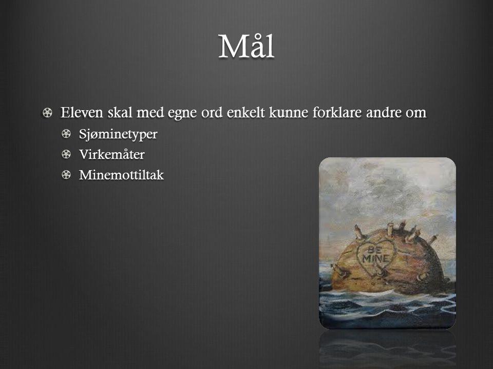 Mål Eleven skal med egne ord enkelt kunne forklare andre om SjøminetyperVirkemåterMinemottiltak