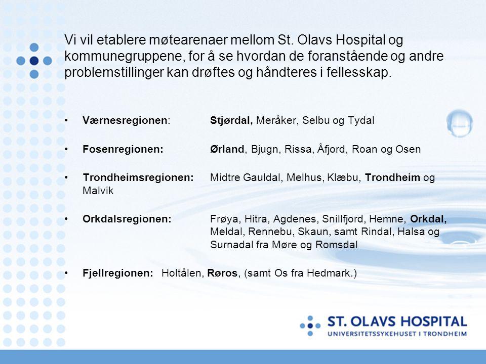 Vi vil etablere møtearenaer mellom St. Olavs Hospital og kommunegruppene, for å se hvordan de foranstående og andre problemstillinger kan drøftes og h