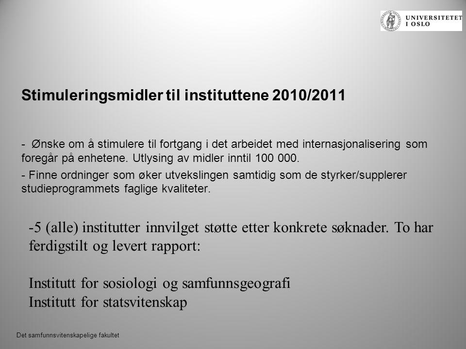 Det samfunnsvitenskapelige fakultet Stimuleringsmidler til instituttene 2010/2011 - Ønske om å stimulere til fortgang i det arbeidet med internasjonalisering som foregår på enhetene.