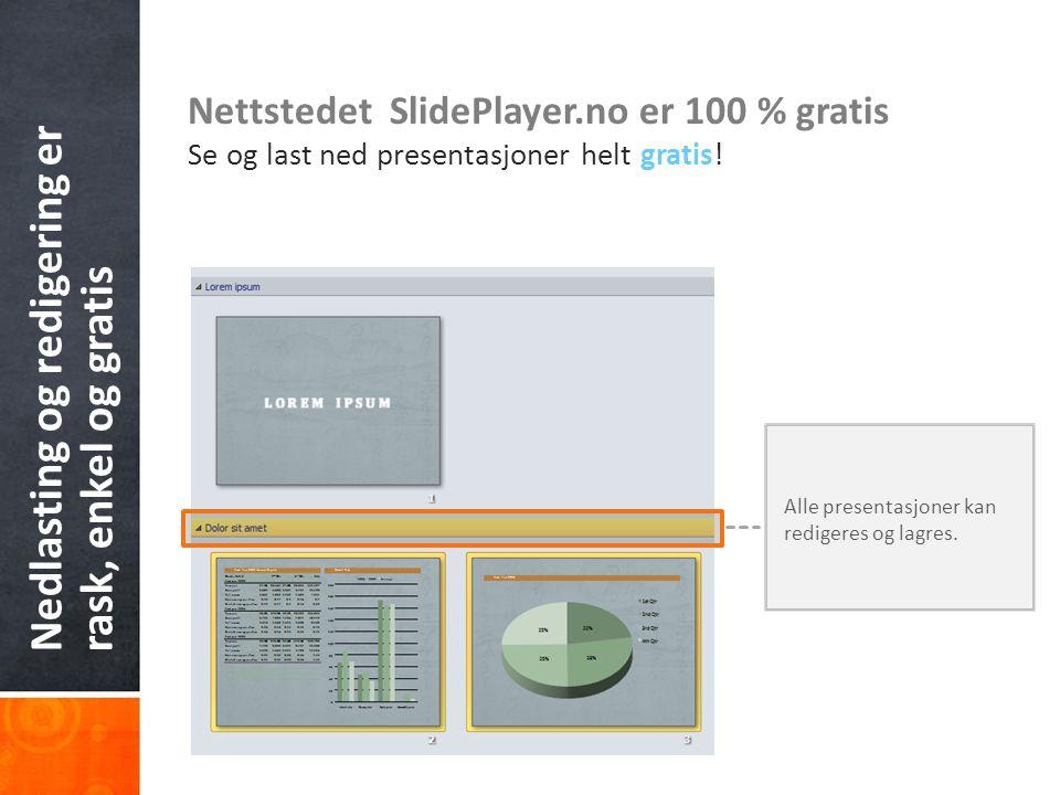 Nedlasting og redigering er rask, enkel og gratis Nettstedet SlidePlayer.no er 100 % gratis Se og last ned presentasjoner helt gratis! Alle presentasj