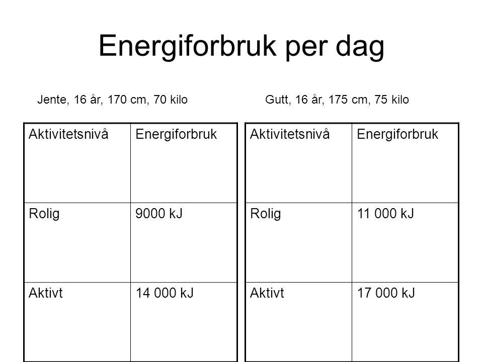 Energiforbruk per dag AktivitetsnivåEnergiforbruk Rolig9000 kJ Aktivt14 000 kJ AktivitetsnivåEnergiforbruk Rolig11 000 kJ Aktivt17 000 kJ Jente, 16 år