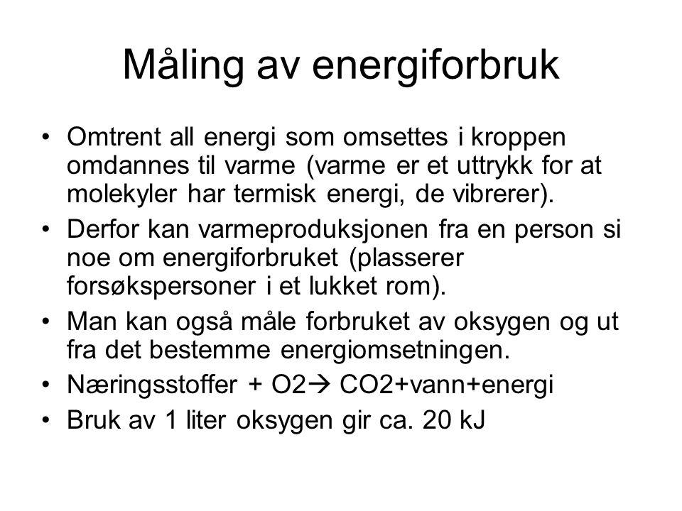 Måling av energiforbruk •Omtrent all energi som omsettes i kroppen omdannes til varme (varme er et uttrykk for at molekyler har termisk energi, de vib