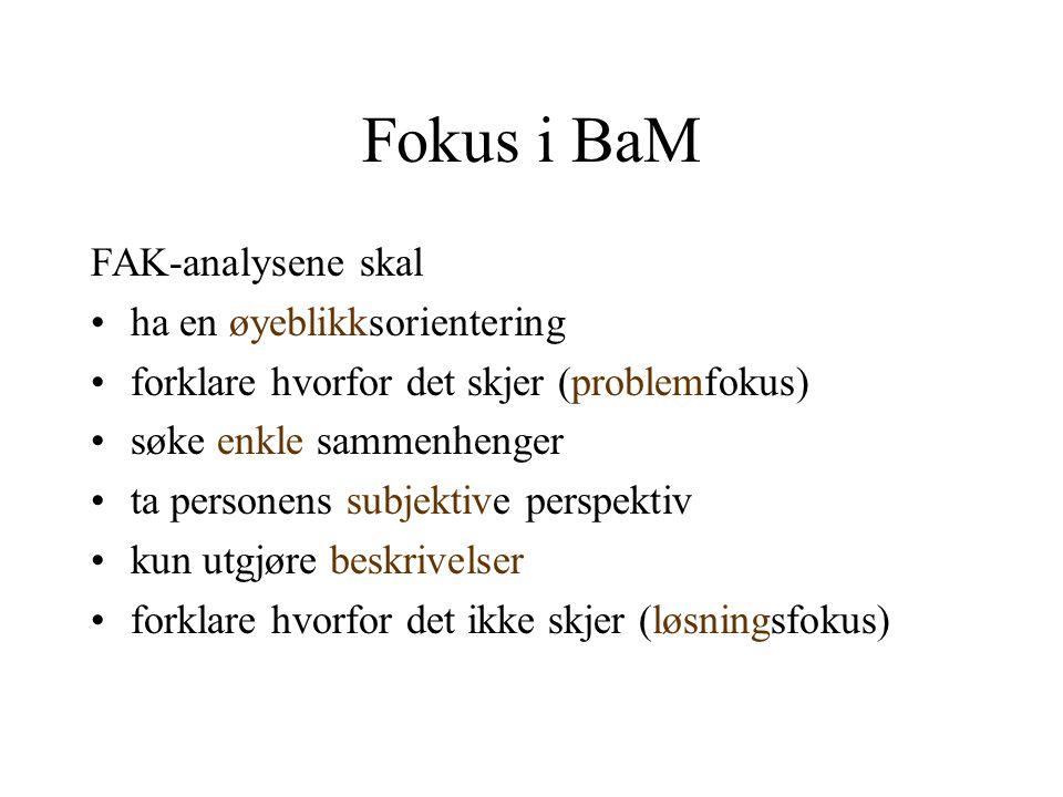 Fokus i BaM FAK-analysene skal •ha en øyeblikksorientering •forklare hvorfor det skjer (problemfokus) •søke enkle sammenhenger •ta personens subjektiv