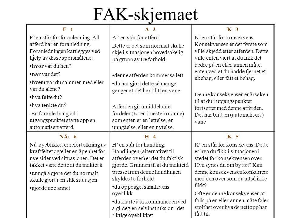 FAK-skjemaet F 1 F' en står for foranledning. All atferd har en foranledning. Foranledningen kartlegges ved hjelp av disse spørsmålene: •hvor var du h