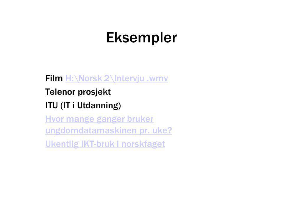 Eksempler Film H:\Norsk 2\Intervju.wmvH:\Norsk 2\Intervju.wmv Telenor prosjekt ITU (IT i Utdanning) Hvor mange ganger bruker ungdomdatamaskinen pr. uk