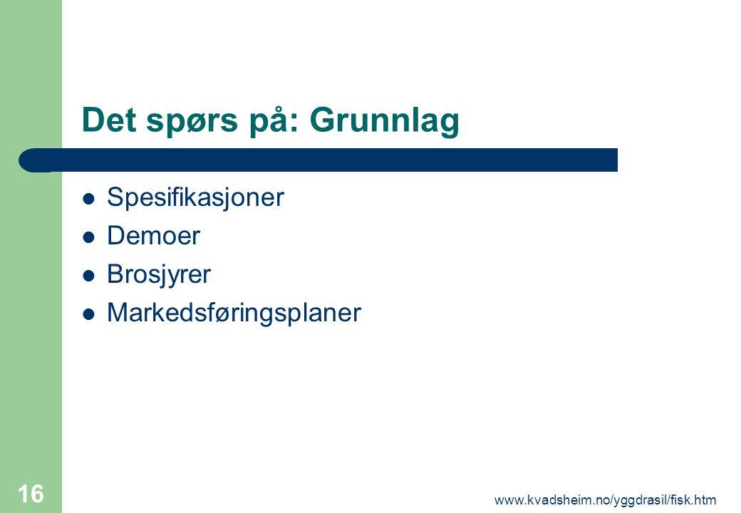 www.kvadsheim.no/yggdrasil/fisk.htm 16 Det spørs på: Grunnlag  Spesifikasjoner  Demoer  Brosjyrer  Markedsføringsplaner
