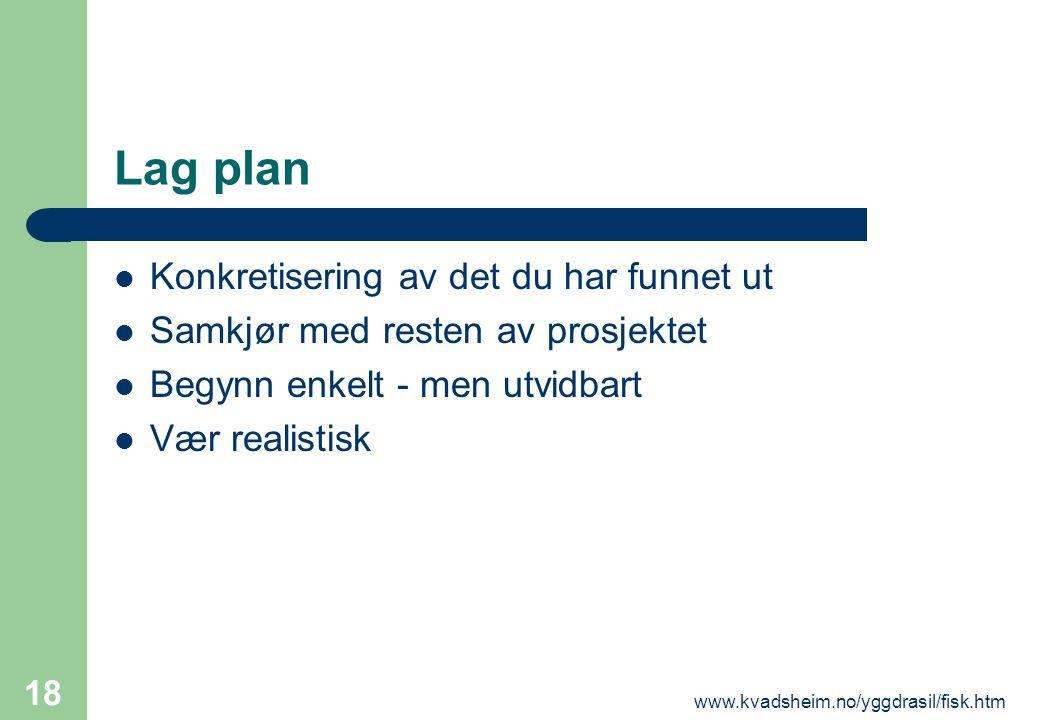 www.kvadsheim.no/yggdrasil/fisk.htm 18 Lag plan  Konkretisering av det du har funnet ut  Samkjør med resten av prosjektet  Begynn enkelt - men utvi