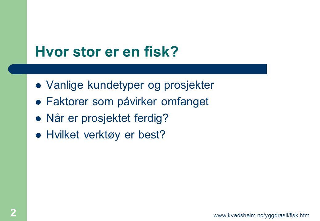 www.kvadsheim.no/yggdrasil/fisk.htm 2 Hvor stor er en fisk?  Vanlige kundetyper og prosjekter  Faktorer som påvirker omfanget  Når er prosjektet fe