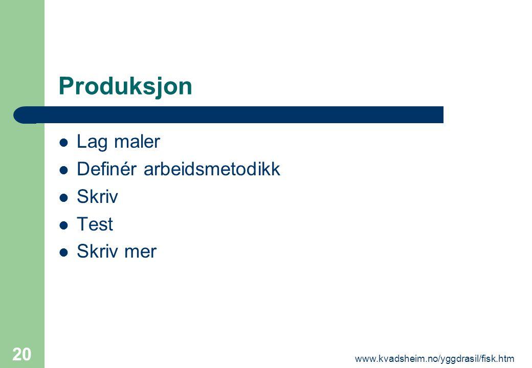 www.kvadsheim.no/yggdrasil/fisk.htm 20 Produksjon  Lag maler  Definér arbeidsmetodikk  Skriv  Test  Skriv mer
