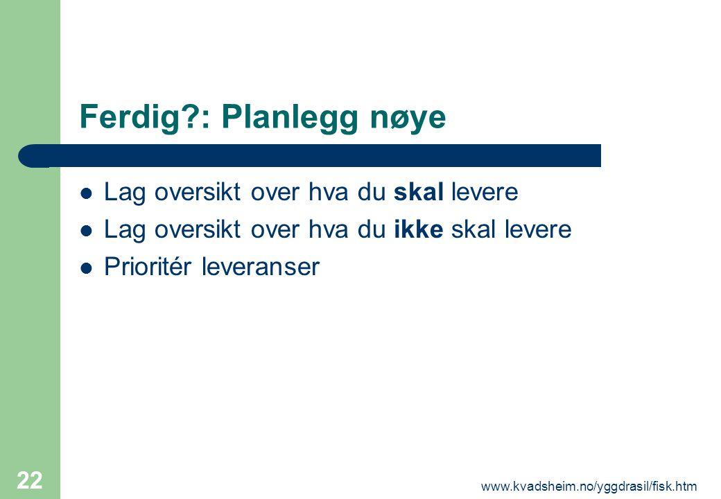 www.kvadsheim.no/yggdrasil/fisk.htm 22 Ferdig?: Planlegg nøye  Lag oversikt over hva du skal levere  Lag oversikt over hva du ikke skal levere  Pri