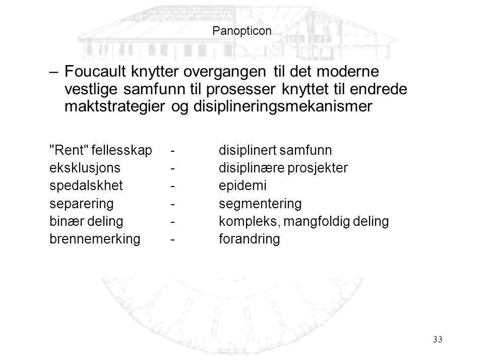 33 Panopticon –Foucault knytter overgangen til det moderne vestlige samfunn til prosesser knyttet til endrede maktstrategier og disiplineringsmekanism
