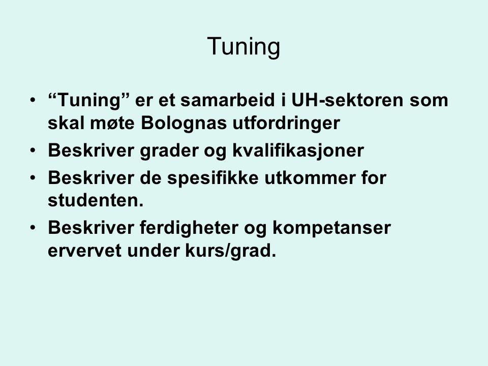 """Tuning •""""Tuning"""" er et samarbeid i UH-sektoren som skal møte Bolognas utfordringer •Beskriver grader og kvalifikasjoner •Beskriver de spesifikke utkom"""