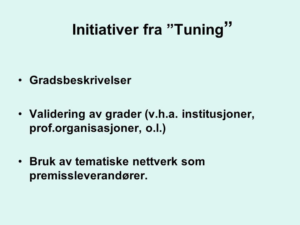"""Initiativer fra """"Tuning """" •Gradsbeskrivelser •Validering av grader (v.h.a. institusjoner, prof.organisasjoner, o.l.) •Bruk av tematiske nettverk som p"""