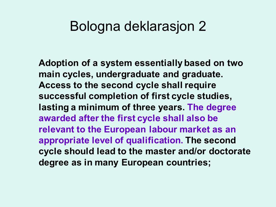 Promotion of the necessary European dimensions in higher education Hva forstår vi med europeisk dimensjon.