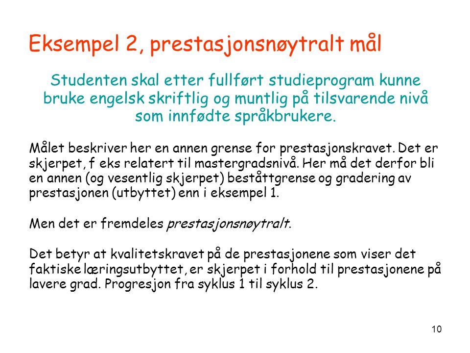 10 Eksempel 2, prestasjonsnøytralt mål Studenten skal etter fullført studieprogram kunne bruke engelsk skriftlig og muntlig på tilsvarende nivå som in