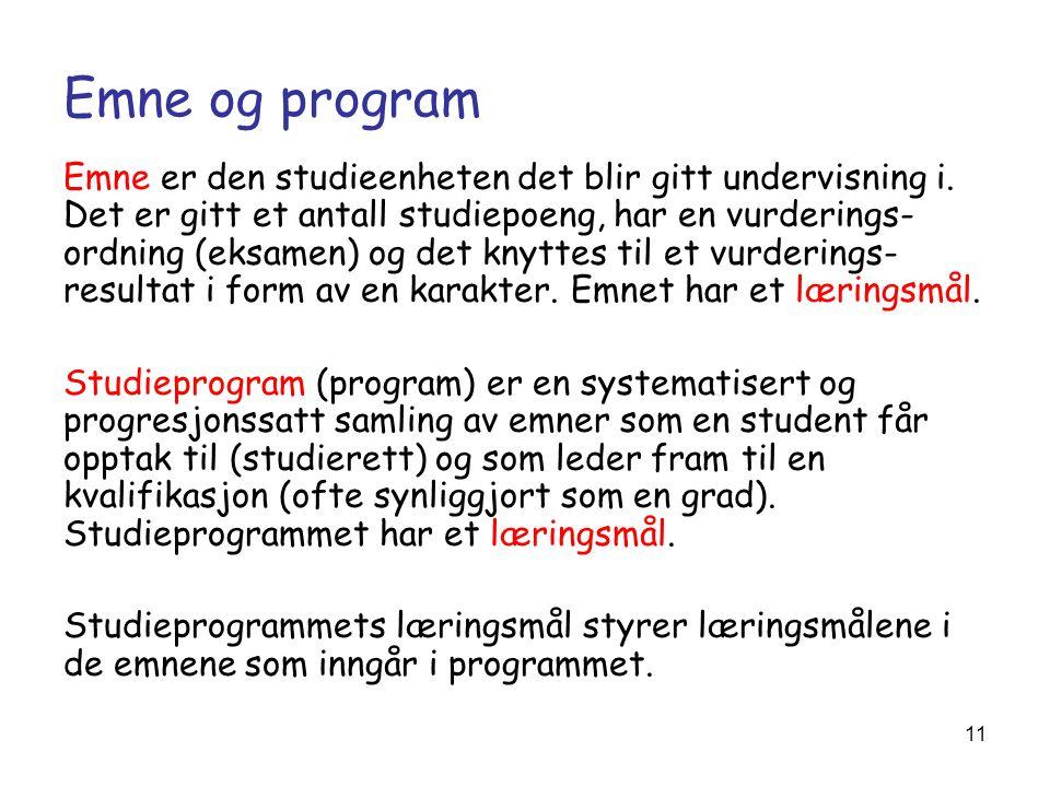 11 Emne og program Emne er den studieenheten det blir gitt undervisning i. Det er gitt et antall studiepoeng, har en vurderings- ordning (eksamen) og